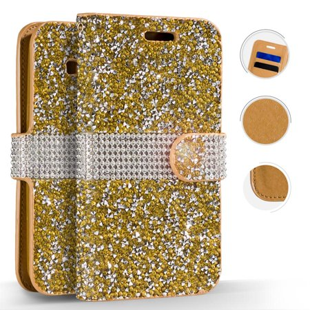 Diamond Pink Motorola Faceplates - ZV Diamond Bling Flap Pouch Motorola moto e5 Supra - Wallet Case w/ Credit Card Slots And ID Holder