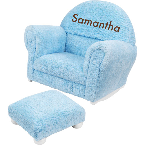 KidKraft - Personalized Powder Blue Chenille Rocker and Ottoman, Brown Block Font Girl's Name