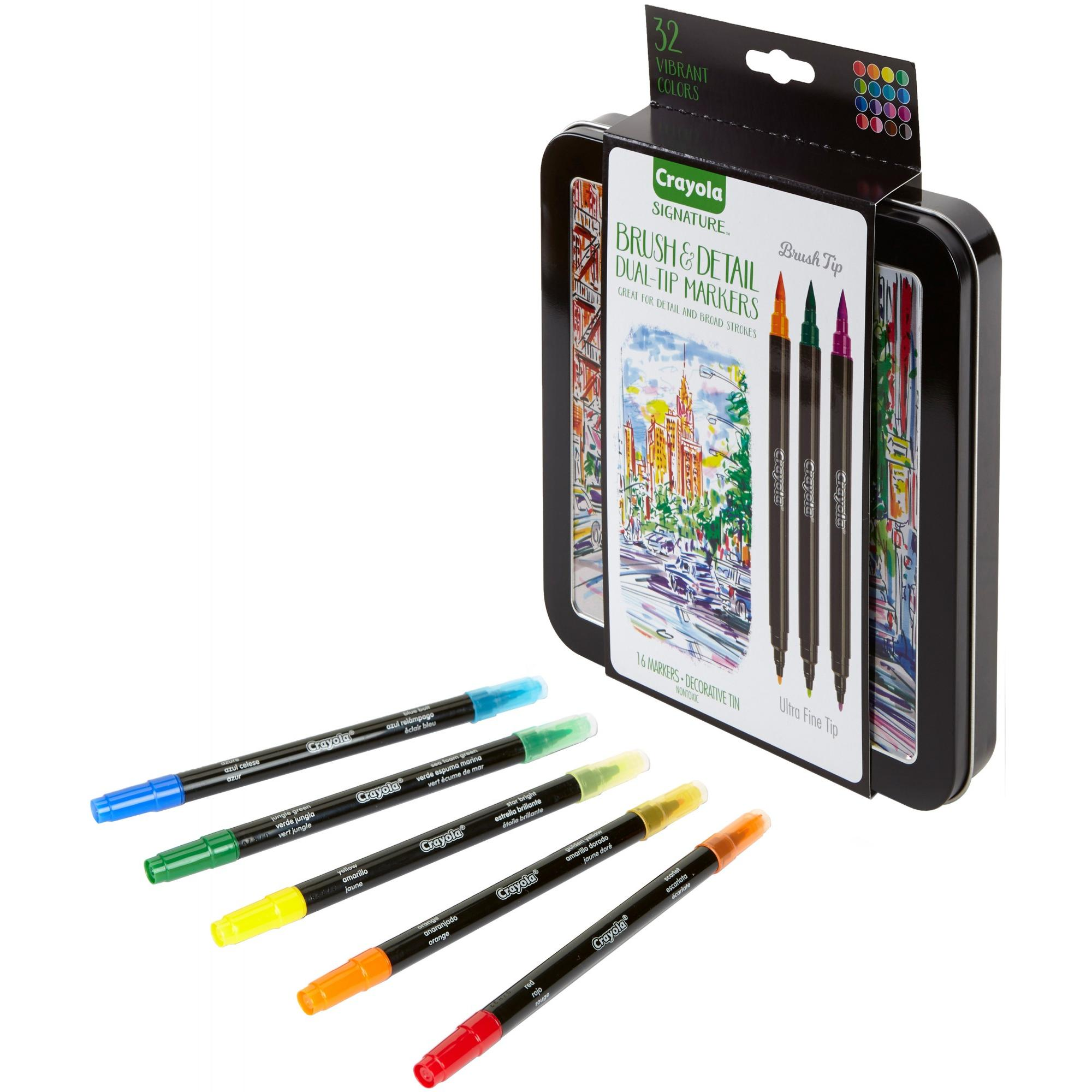 Crayola Signature Brush Detail Dual Tip Markers With Decorative Tin 16 Count Walmart Com