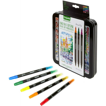 - Crayola Signature Brush & Detail Dual-Tip Markers With Decorative Tin, 16 Count