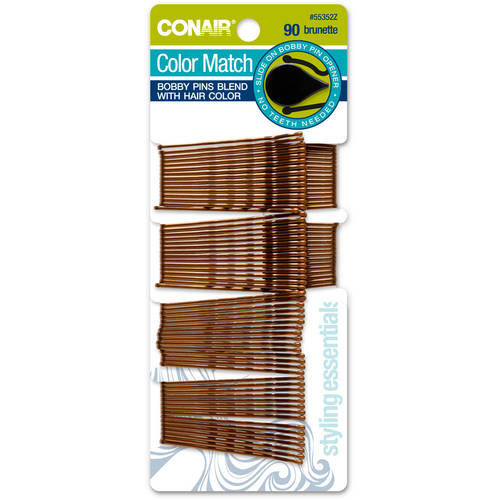 Conair Styling Essentials Bobby Pins, Brown, 90 count