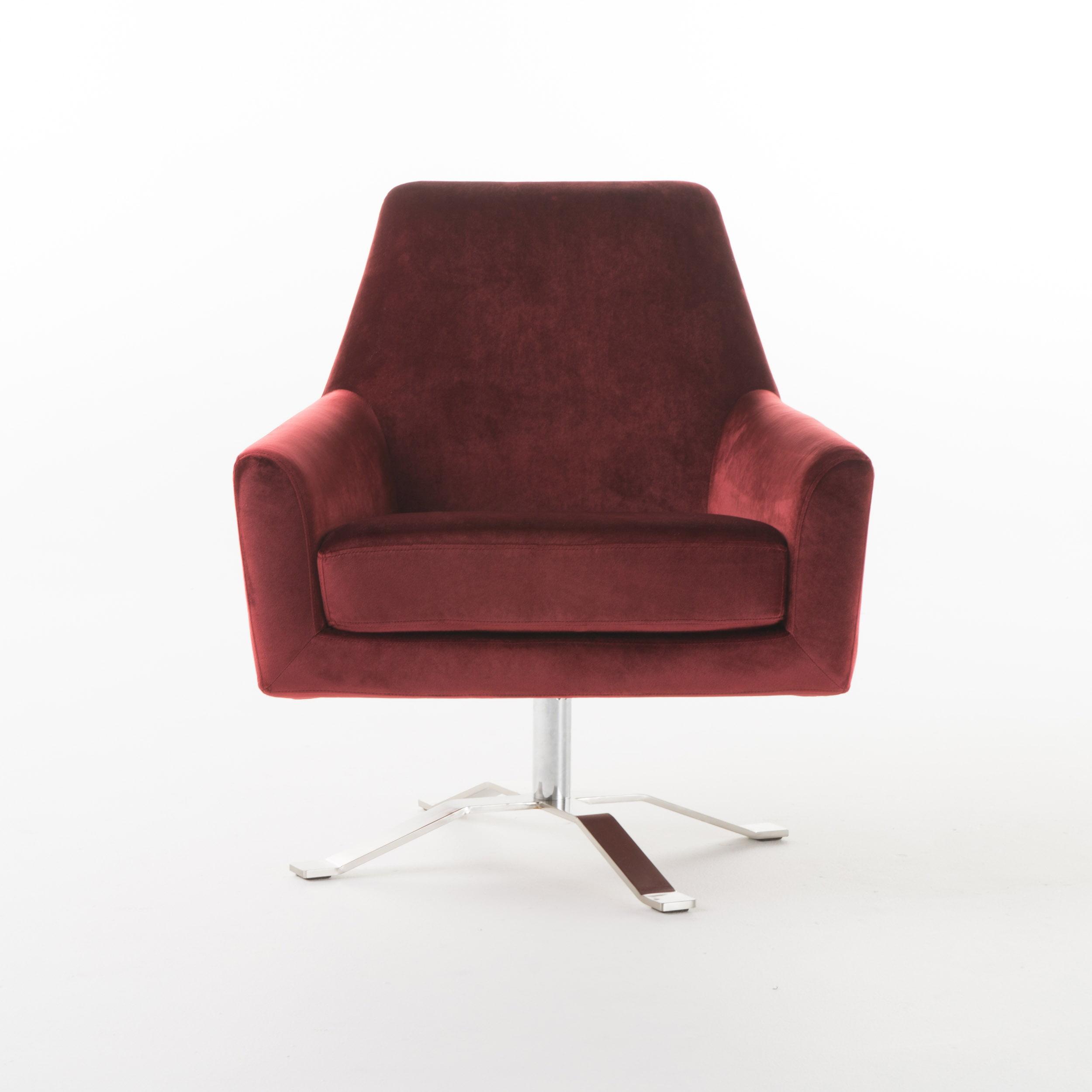 Aegis New Velvet Modern Swivel Club Chair, Garnet by GDF Studio