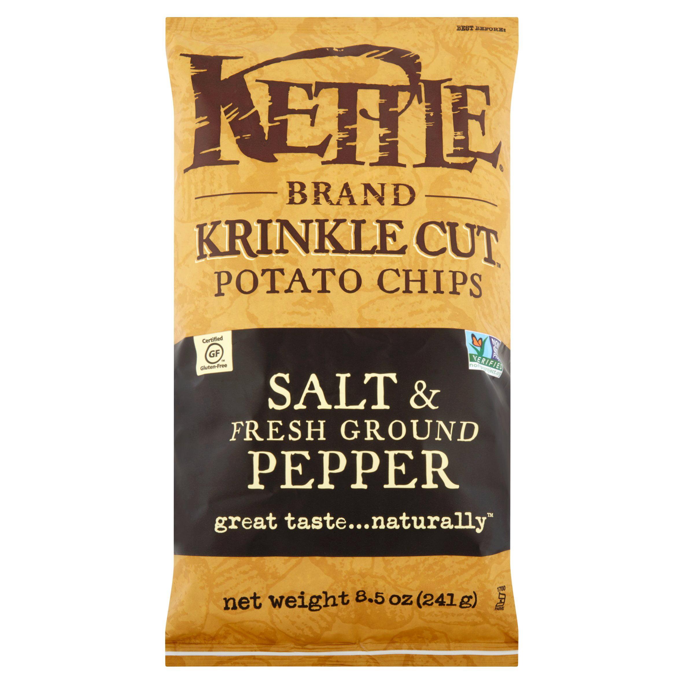 Kettle Brand Krinkle Cut Potato Chips Salt & Fresh Ground Pepper, 8.5 OZ by Kettle Food, Inc.