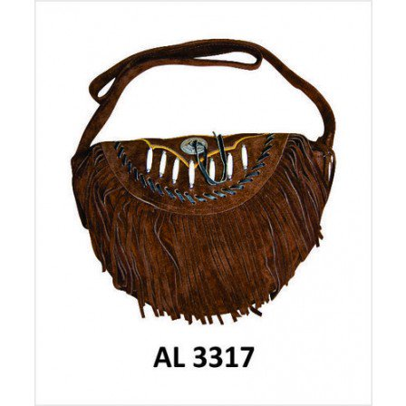 Ladies Fashion Motorcycle Heavy Duty Western Style Dark Brown Suede Leather Handbag With Bones,Silver Conchos & fringe Ladies Dark Brown Leather