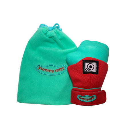 Yummy Mitt® (Glow in the Dark) Teething Mitten -Red & Turquoise -(3-12 months baby mitten)- No More Dropping