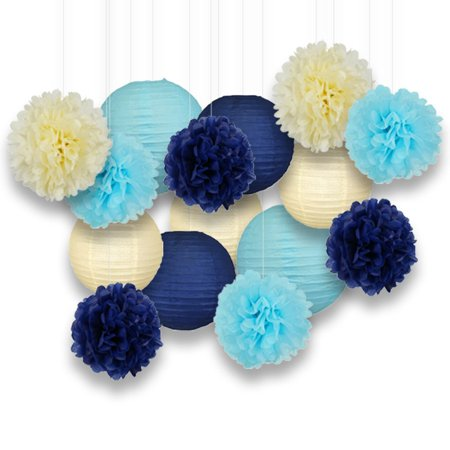 Just Artifacts Decorative Paper Party Pack (15pcs) Paper Lanterns and Pom Pom Balls - Ivory/Blues - Perfect for Birthday Parties, Baby Showers, Weddings and Life Celebrations!
