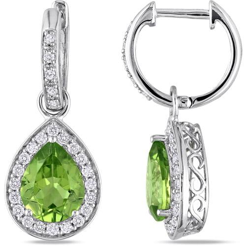 3-1/3 Carat T.G.W. Pear-Cut Peridot and 1/2 Carat T.W. Diamond 14kt White Gold Clip-Back Drop Earrings