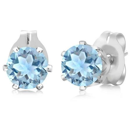 0.88 Ct Round Shape Sky Blue Aquamarine Silver Plated Brass Stud Earrings