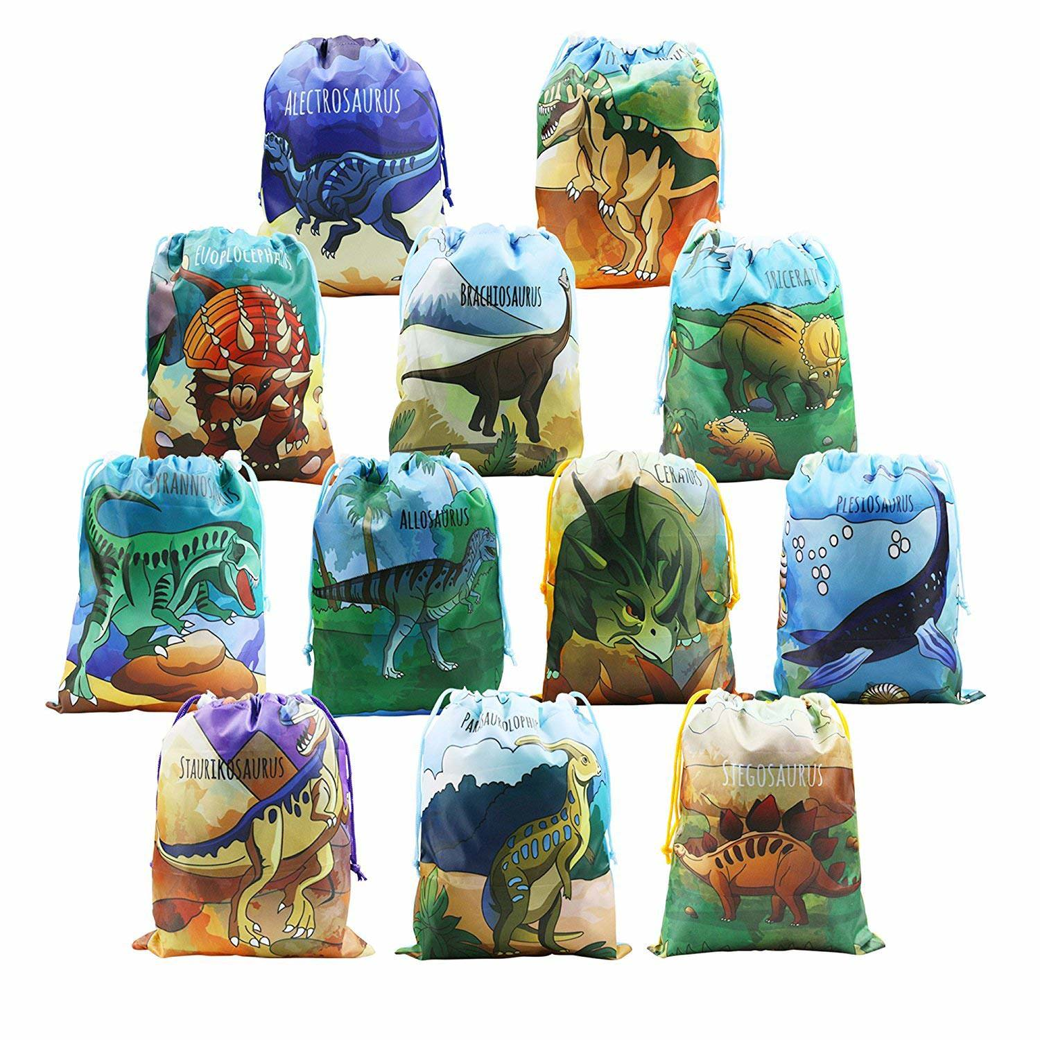 BeeGreen Dinosaur Party Supplies Favors Bags for Kids Boys and Girls Birthday 12 Pack Dino Drawstring Goody Gift Pouch (Dinosaur Party Bags)