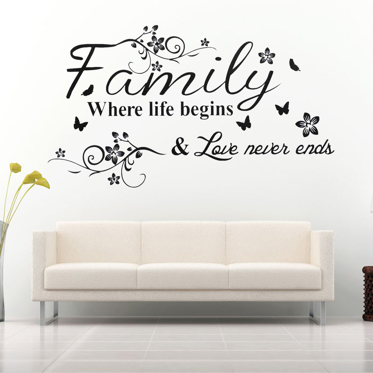 Family Where Life Begin DIY Butterfly Flower Decor Wall Sticker Wall Paper