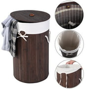 Costway Round Bamboo Hamper Laundry Basket Washing Cloth Storage Bag Lid Brown