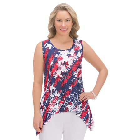 Women's Patriotic Americana Stars and Stripes Sequins Scoop Neck Sharkbite Sleeveless Tank Top, Large, Multi