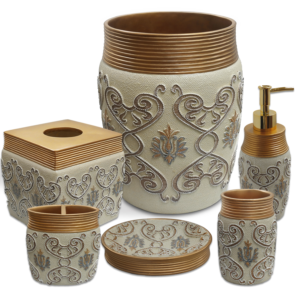 Popular Bath Savoy Bathroom 6 Piece Bath Accessory Set  Gold/Ivory