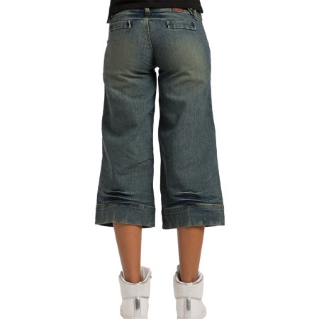 Sweet Vibes Junior Womens Gaucho Jeans Stretch Denim Vintage Blue Capris ()