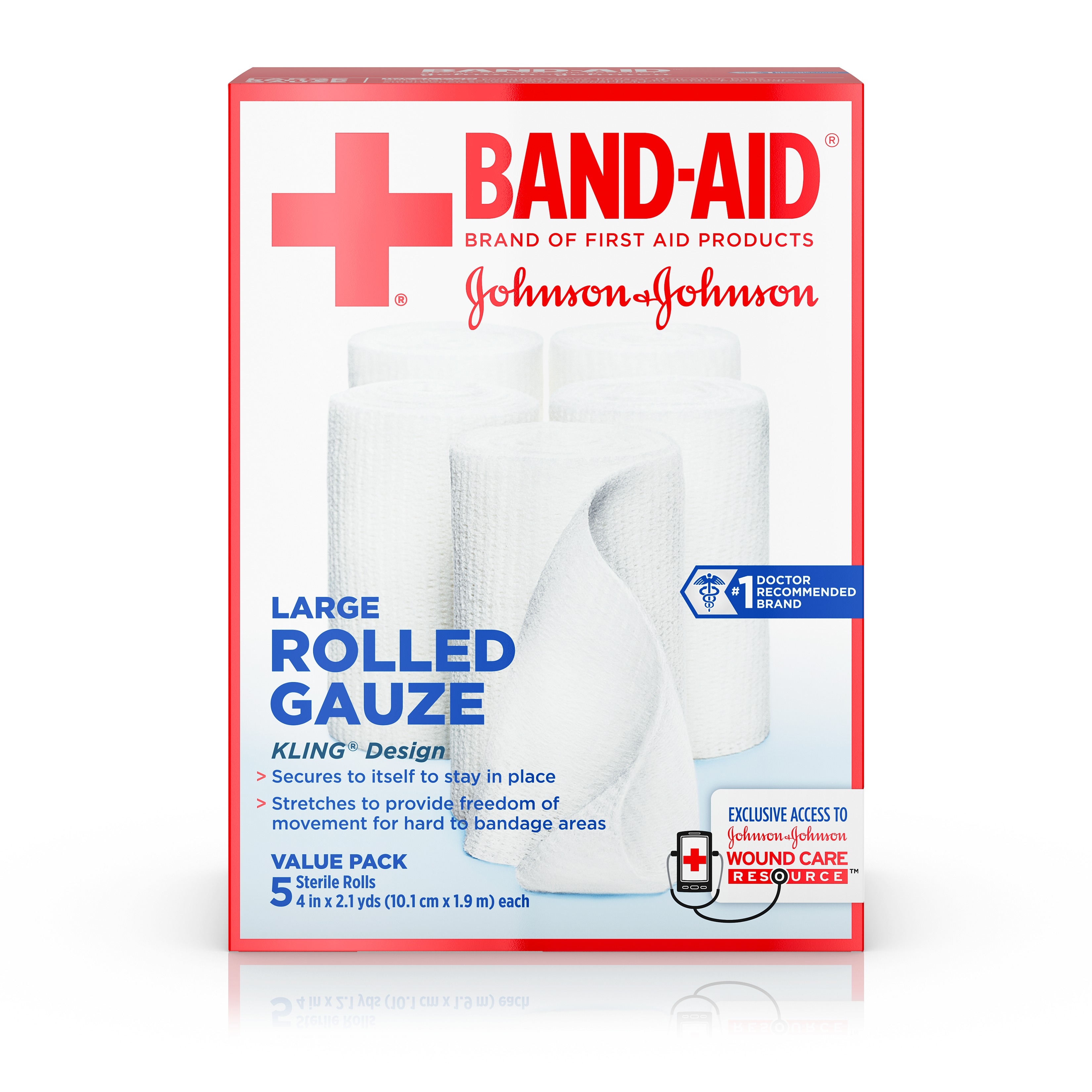 Band-Aid Brand of First Aid Products Rolled Gauze, 4Inches by 2.1 Yards, 5 Count Value Pack by Johnson and Johnson Dressing Pads