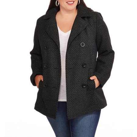 8aacba33fd Faded Glory - Women s Plus-Size Double-Breasted Faux Wool Peacoat ...