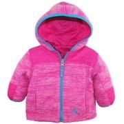 Rugged Bear Baby Girls Space Dye Reversible Jacket Quilted Fleece Coat