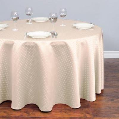 120 in. Round Square-point Damask Tablecloth Ivory ()
