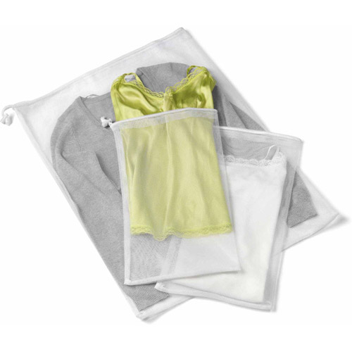 Honey Can Do Breathable Laundry Bag with Zipper, White (Set of 6)