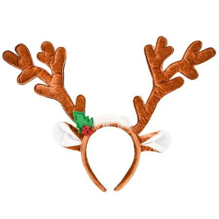 Diy Antler Headband (Christmas Cutie Soft Reindeer Antlers Headband With Ears Holly And)