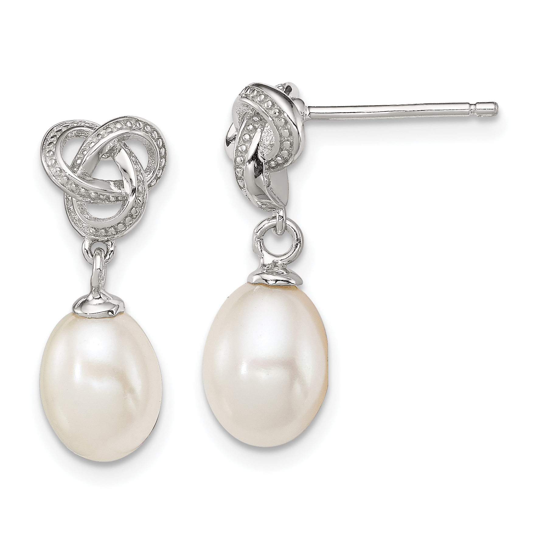 925 Sterling Silver White Freshwater Pearl Pendant Necklace Stud Earrings Set
