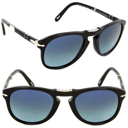 54ab9528561 Persol - Persol PO714SM 95 S3-52 Steve McQueen Folding Sunglasses  Black Blue Polarized Lens - Walmart.com