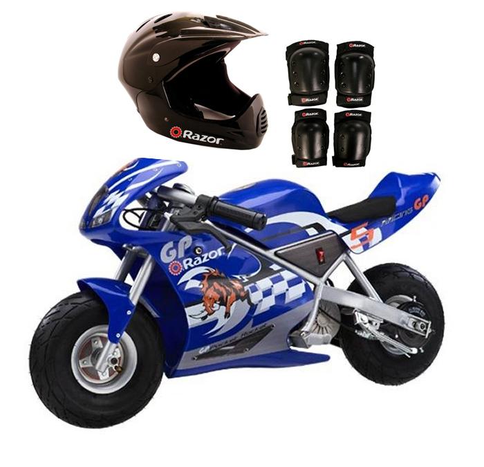 Razor Blue Pocket Rocket Bike + Sport Helmet And Pads | 15120040 + 97775 + 96785