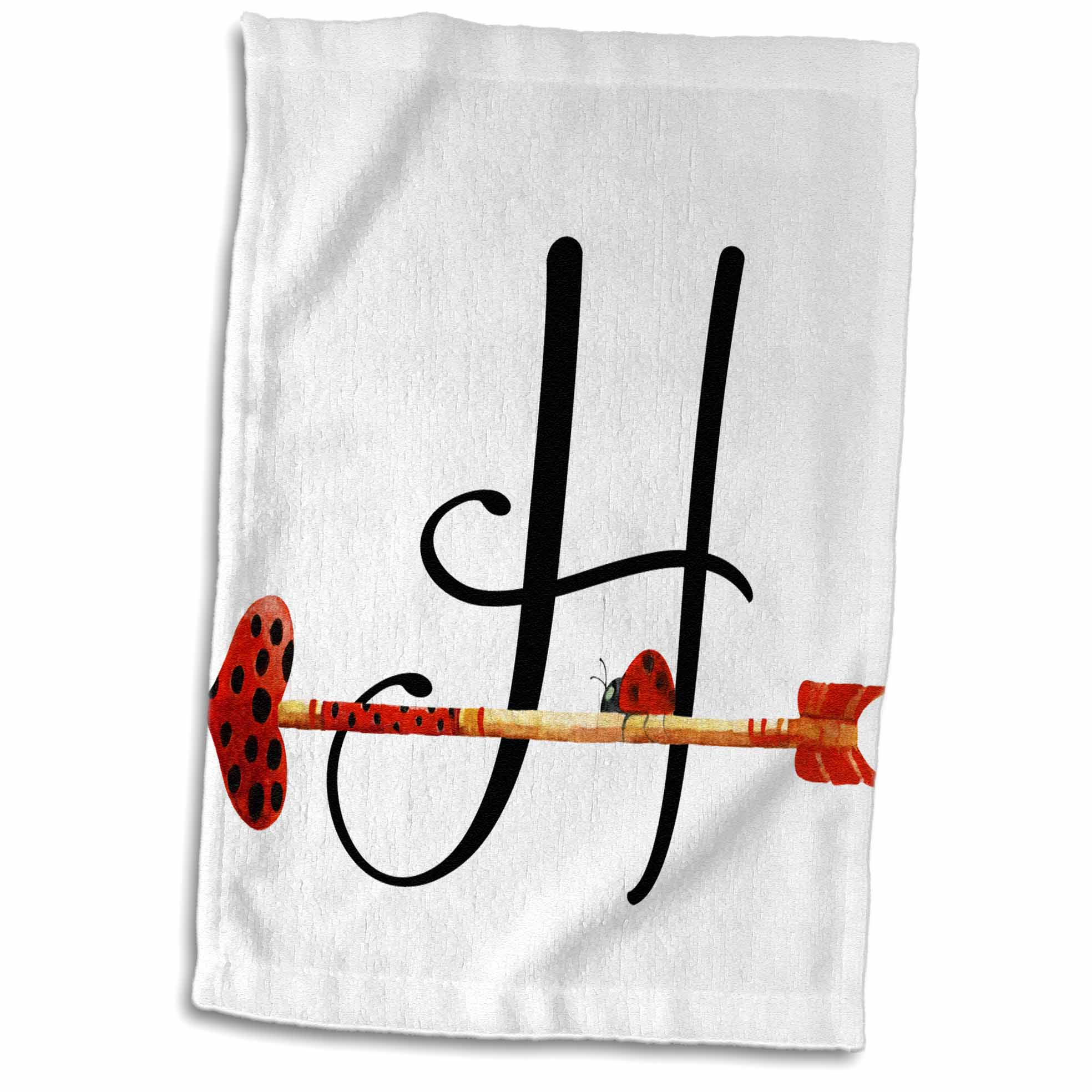 3dRose Cute Watercolor Red and Black Ladybug Heart Arrow Monogram H - Towel, 15 by 22-inch