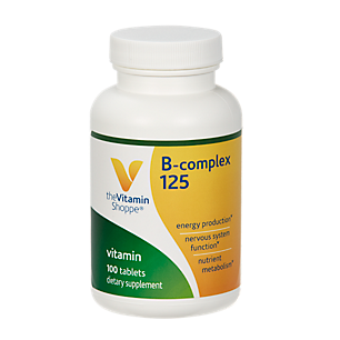 BComplex 125 – Supports Energy Production, Nervous System Function  Nutrient Metabolism – Excellent Source of B1, B2, B6, B12, Niacin, Folic Acid  Biotin (100 Tablets) by The Vitamin Shoppe