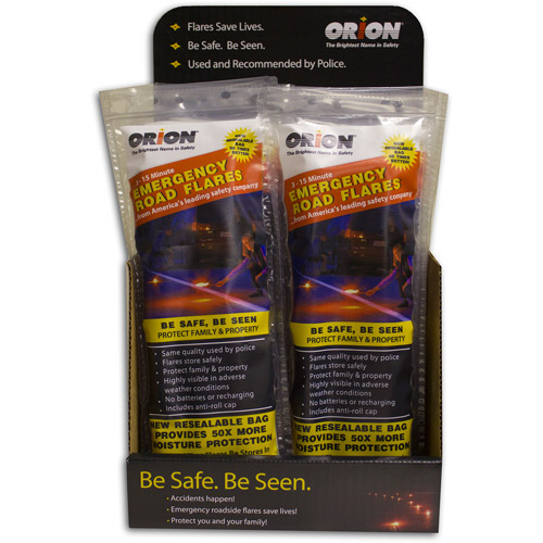 Orion Safety Products 15-Minute Emergency Roadside Flares with Stand, 3pk