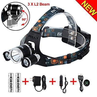5000 Lumens Max Headlamp, Grde® 3 LED 4 Modes headlight, ...