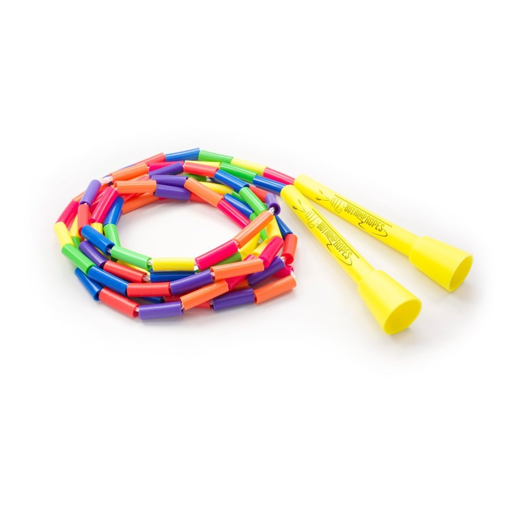 Beaded Playground Jump Rope - Segmented Plastic Beads - 7ft Rainbow