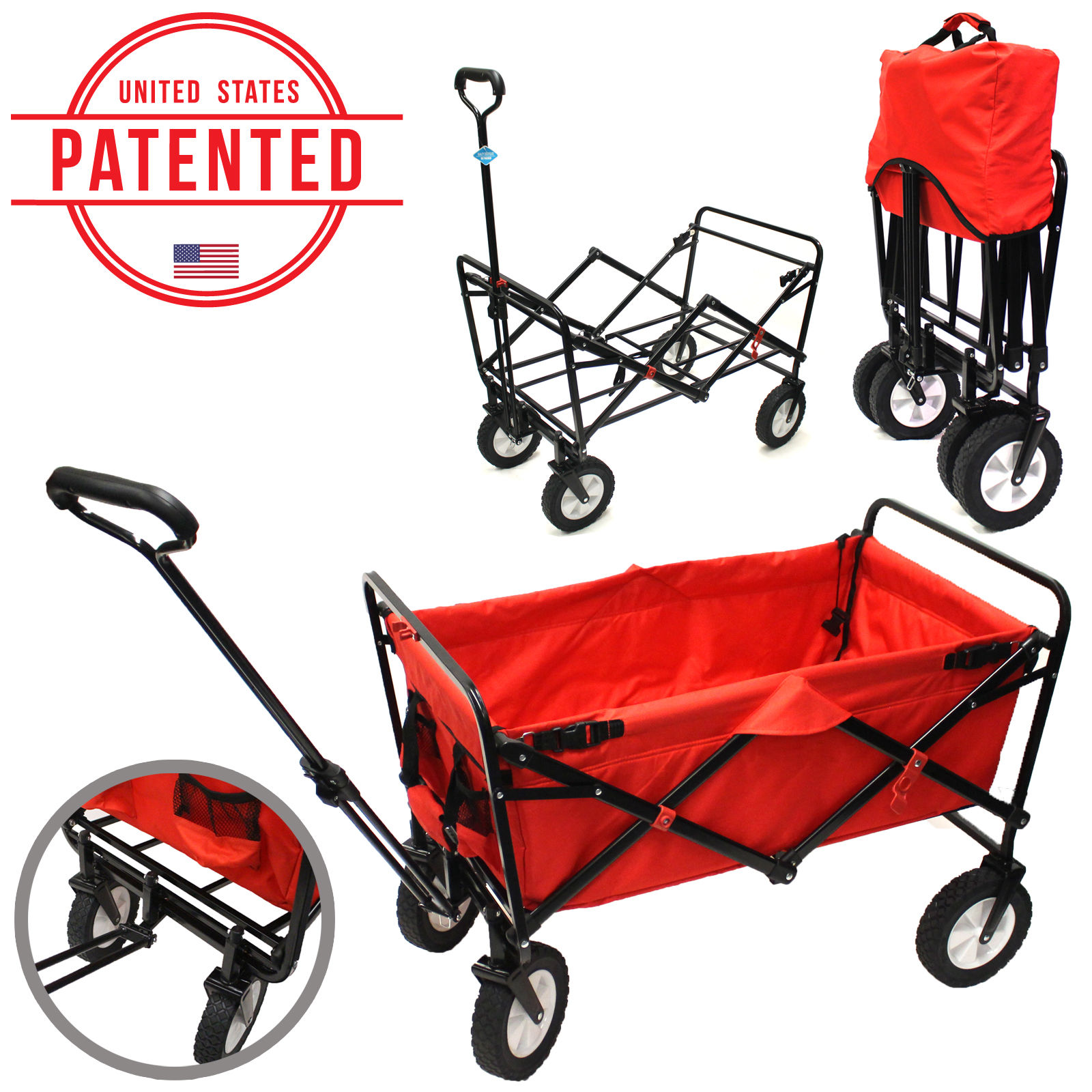 Everyday Sports Folding Collapsible Wagon Garden Utility Shopping Camping Cart