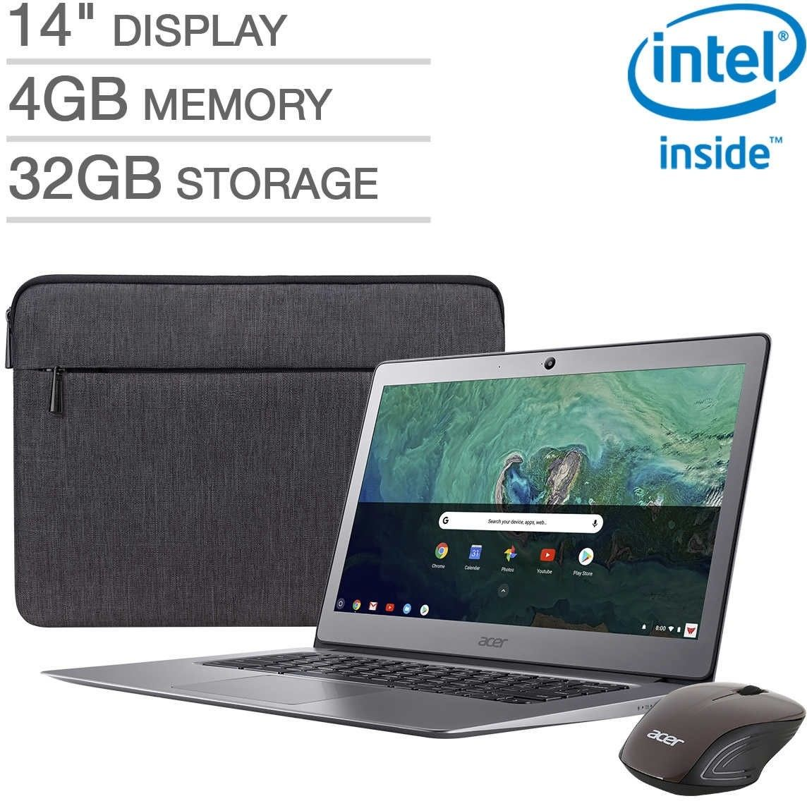 "Acer CB3-431-C7EX 14"" Chromebook Bundle Laptop Notebook 1080p 4GB 32GB w/ Mouse and Case"