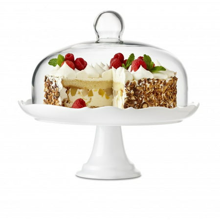 Bianco White Porcelain Cake Stand with Glass Dome, for 10 1/2 inch Cakes