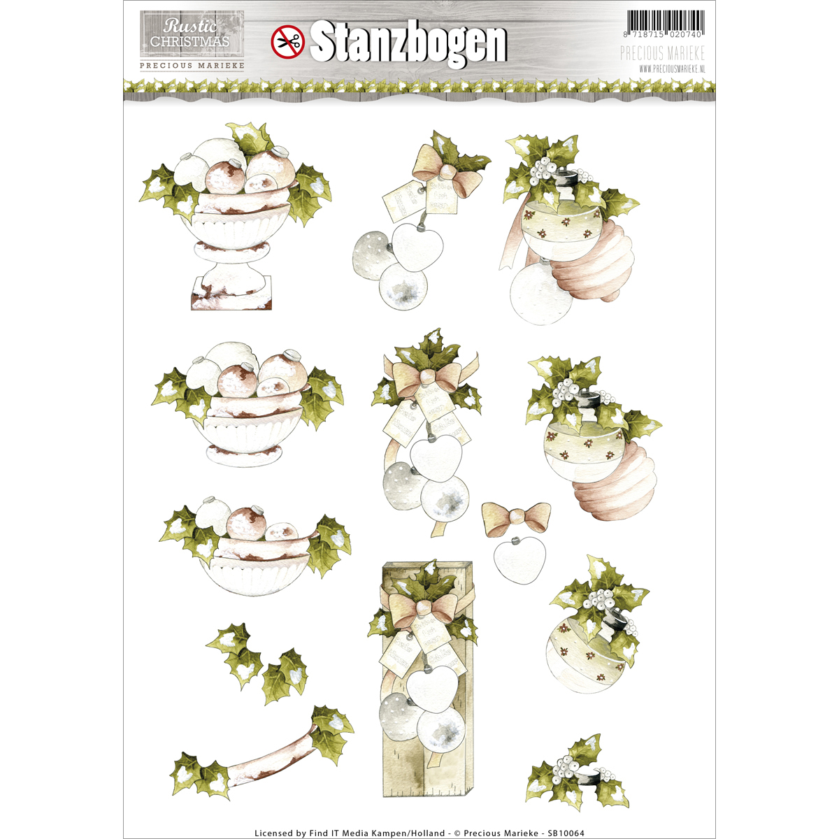 Find It Precious Marieke Rustic Christmas Punchout Sheet-Ornaments & Mistletoe