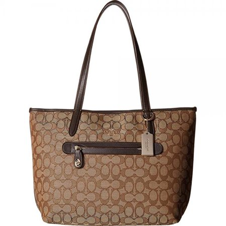 Coach Womens Signature Taylor Tote Li Khaki Brown Tote