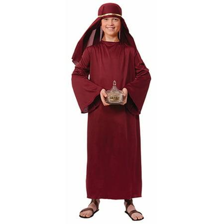 Child Boys Christian Biblical Shepherd Burgandy Nativity Wise Man Robe Costume - Child Nativity Costumes
