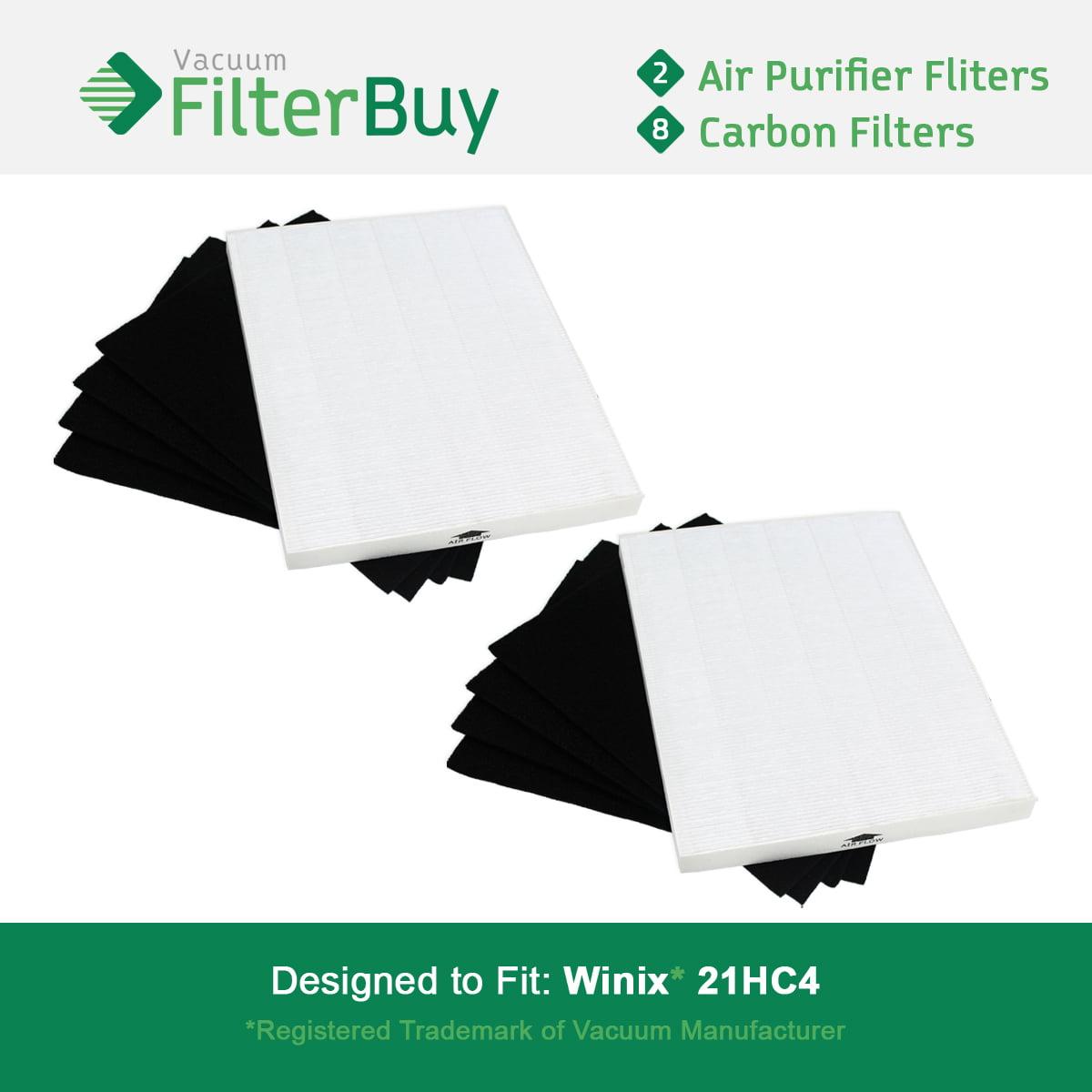 2 Pack - Winix 115115 True HEPA Filters & 8 Carbon Filter...