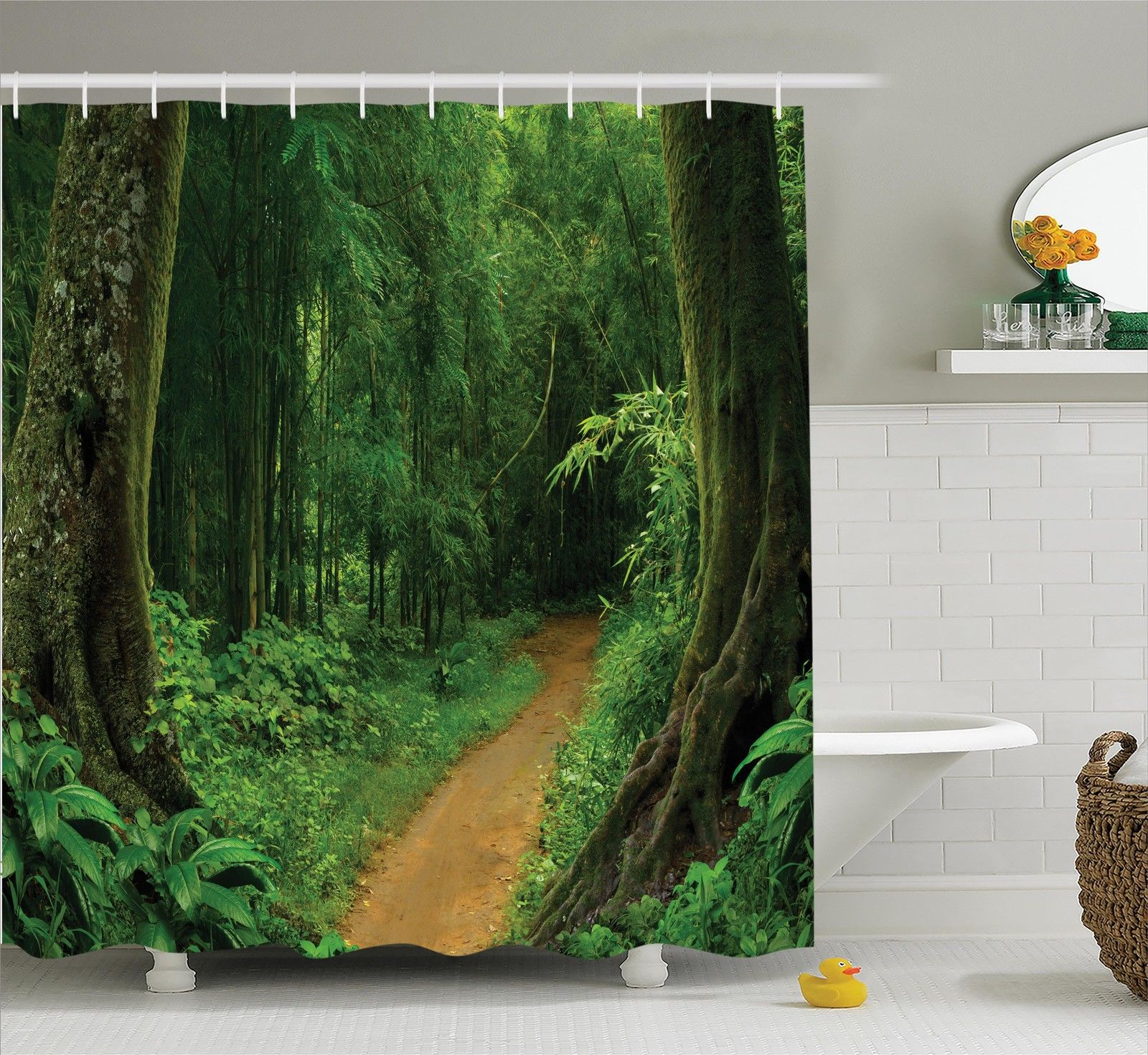 tropical decor shower curtain set tropical jungle forest with trees pathway foliage wilderness nature landscape