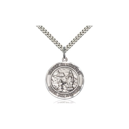 Solid 925 Sterling Silver Round Medal Pendant Saint St  Virgen De Lourdes Pendant Our Lady Miraculous Protective Ol On A 24 Stainless Curb Chain Necklace Gift Boxed