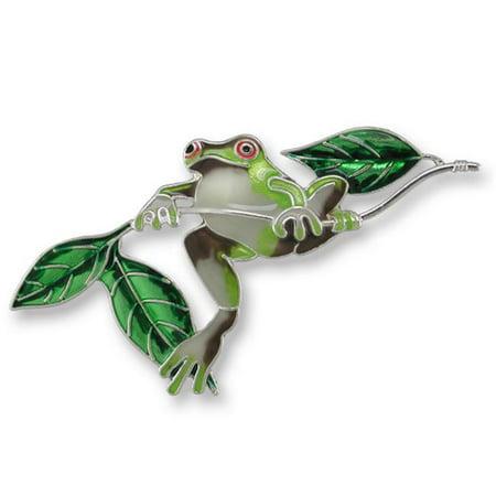 Zarah Crystal (Zarah 21-22-Z2 Frog On Twig Ultrafine Silver Plate Pin )