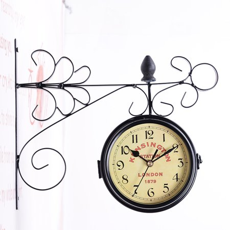 Mrosaa Vintage Double Sided Wall Clock Iron Metal Silent Quiet Grand Central Station Wall Clock Art Clock Decorative Double Faced Wall Clock ()