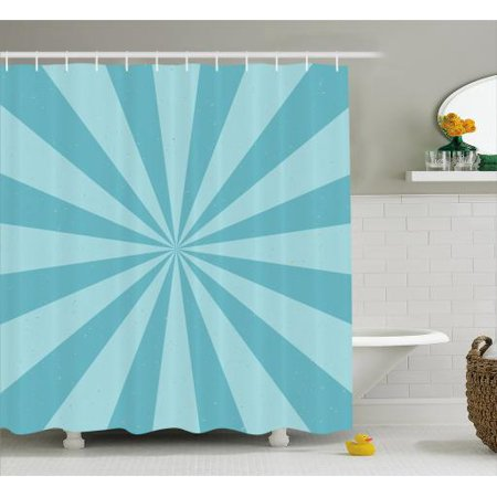 Vintage Blue Shower Curtain Retro Style Radially Widening Geometric Dichromatic Stripes Fabric Bathroom