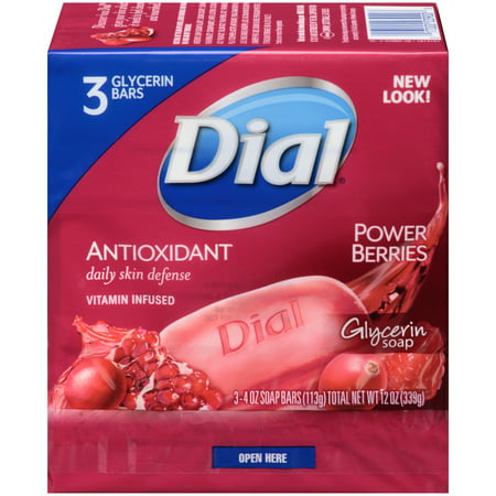 Dial Glycerin Bar Soap, Power Berries, 4 Ounce Bars, 3 Count - Glycerin Soap Slice