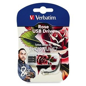 Verbatim Mini USB Flash Drive 98660 8GB Tattoo Series - Rose