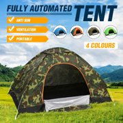 2-3 Person Popup Camping Tent with Carry Bag, Lightweight Waterproof Dome Automatic Family Tent Outdoor Sports Tent Sunscreen for Beach, Traveling, Hiking, Camping, Hunting – Blue/Camouflage