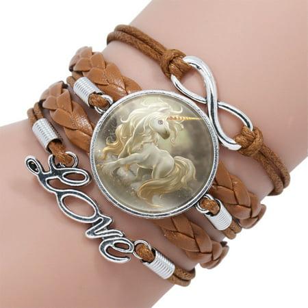 - Unicorn Bracelet Browen Silver Unicorn White Horse Braided Love Bracelet, J-172-Br