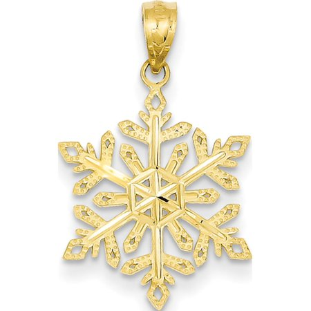 14k Yellow Gold Diamond -Cut Snowflake (15x25mm) Pendant / Charm Crystal Snowflake Charm