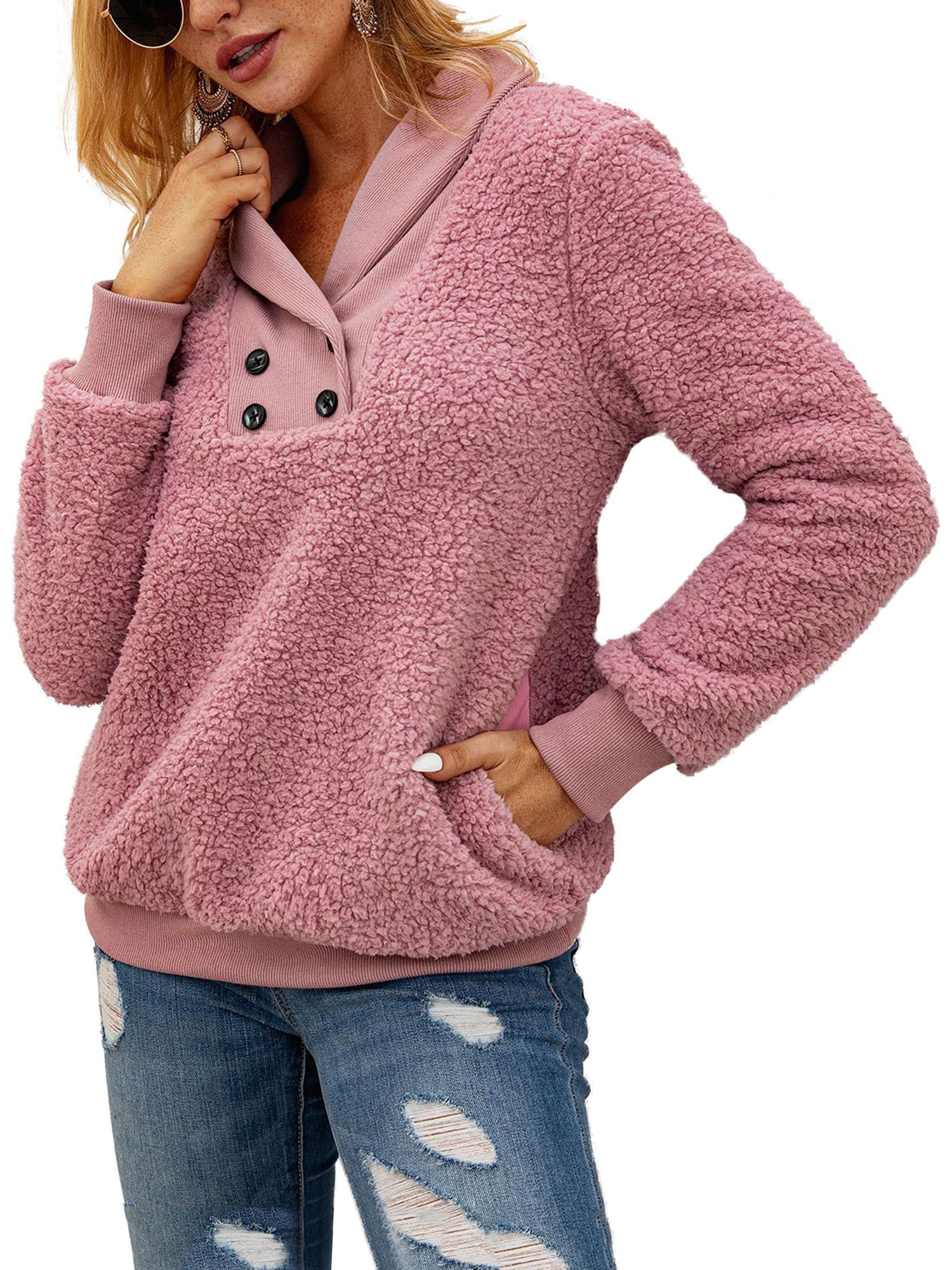 Women Winter Fleece Hooded Long Sleeves Pocket Casual Sweater Top Blouse Outwear